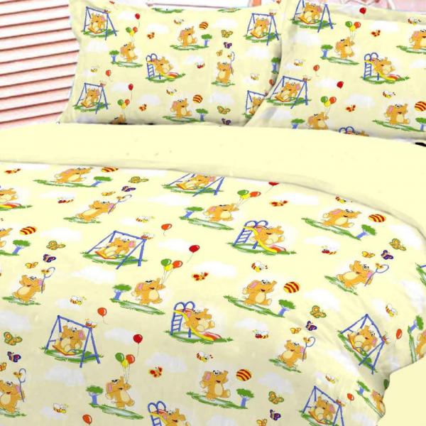 UUS! Laste voodipesukomplekt kollane elevantidega