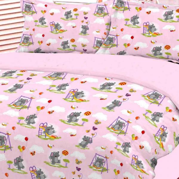 UUS! Laste voodipesukomplekt roosa elevantidega