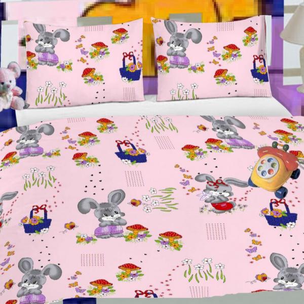 Laste voodipesukomplekt roosa jänestega