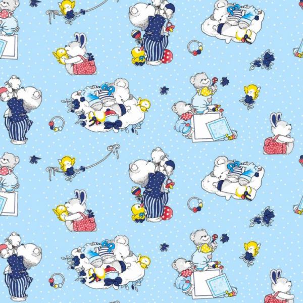 Laste voodipesukomplekt sinine karudega