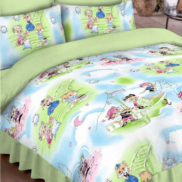 Laste voodipesukomplekt roheline kassidega