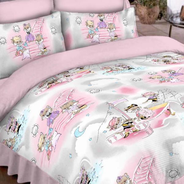 Laste voodipesukomplekt roosa kassidega