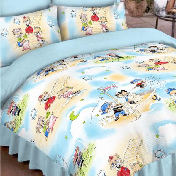 Laste voodipesukomplekt sinine kassidega