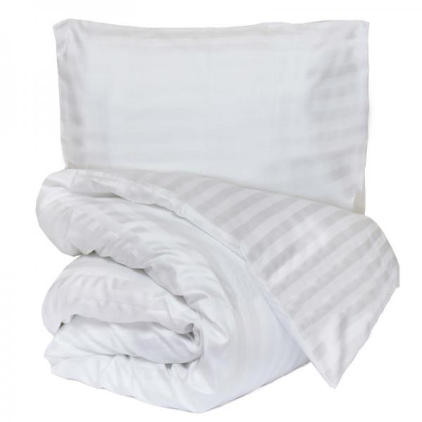 Satiinist voodipesukomplekt triibuline valge