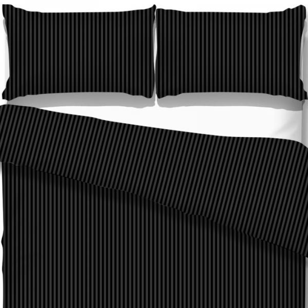 UUS! Satiinist voodipesukomplekt triibuline must
