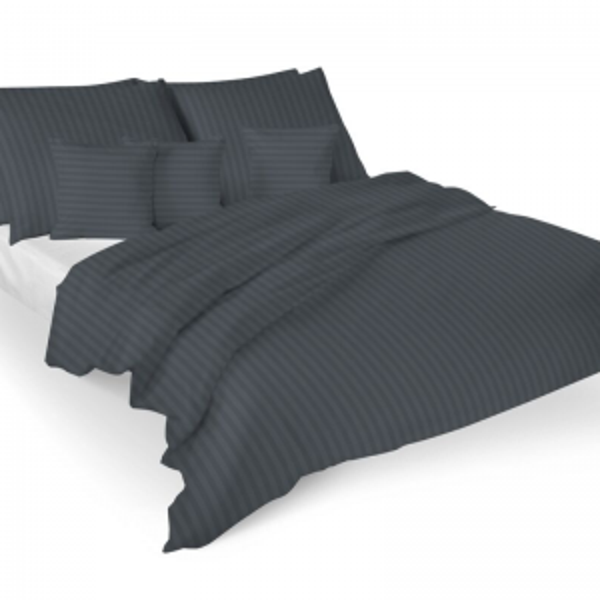 Satiinist voodipesukomplekt triibuline tumehall