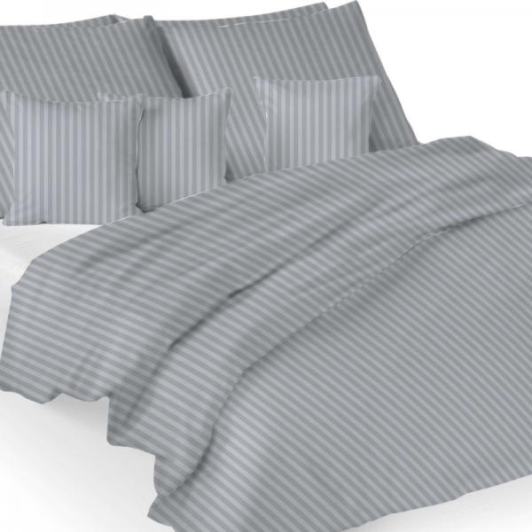 UUS! Satiinist voodipesukomplekt triibuline helehall