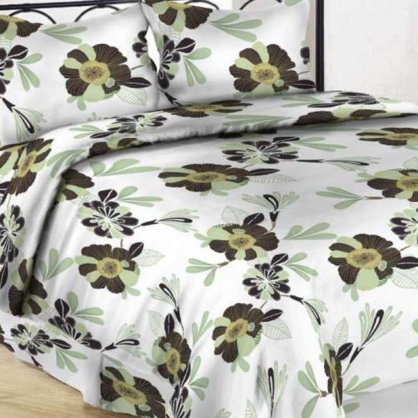 UUS! Satiinist voodipesukomplekt roheline õis