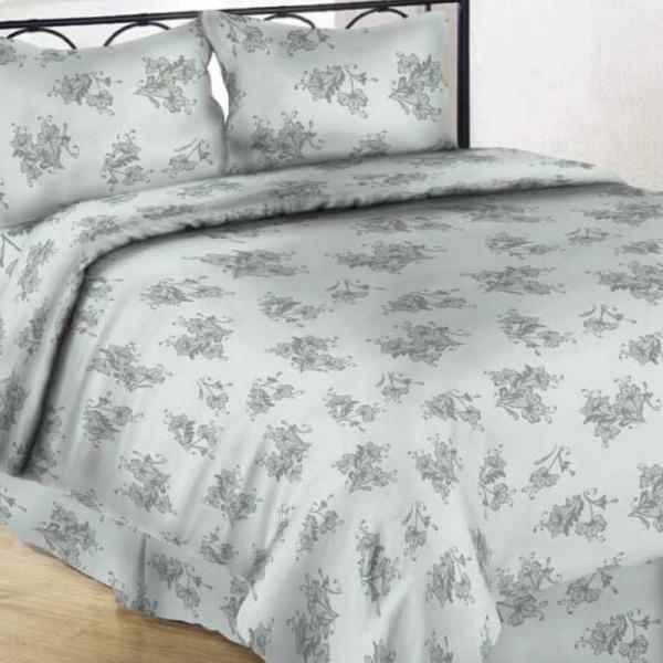 Satiinist voodipesukomplekt helehall õis