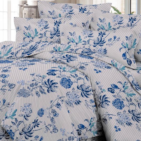 UUS! Satiinist voodipesukomplekt sinised lilled