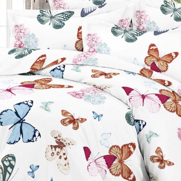 Satiinist voodipesukomplekt liblikatega