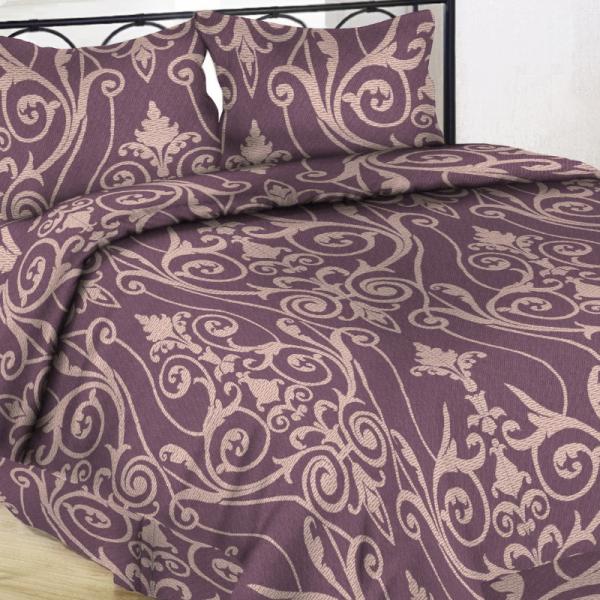 Satiinist voodipesukomplekt ploomililla