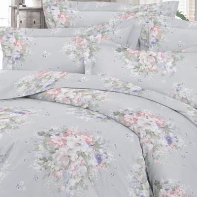 UUS! Satiinist voodipesukomplekt hall lillekimp